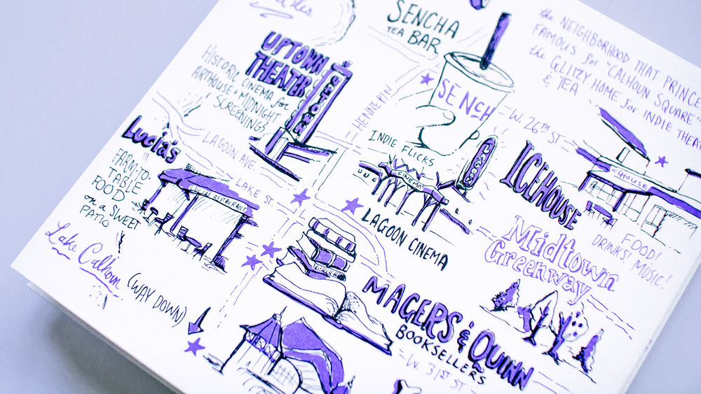 Close up detail of Uptown neighborhood map of Minneapolis, illustrated for Neenah Paper at the AIGA Design Conference 2017.