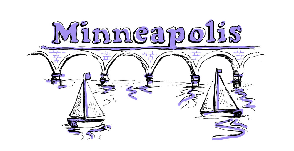 Minneapolis Stone Arch bridge over water illustration, the title for the front cover of Neenah Paper's city maps distributed at the AIGA Design Conference in 2017.