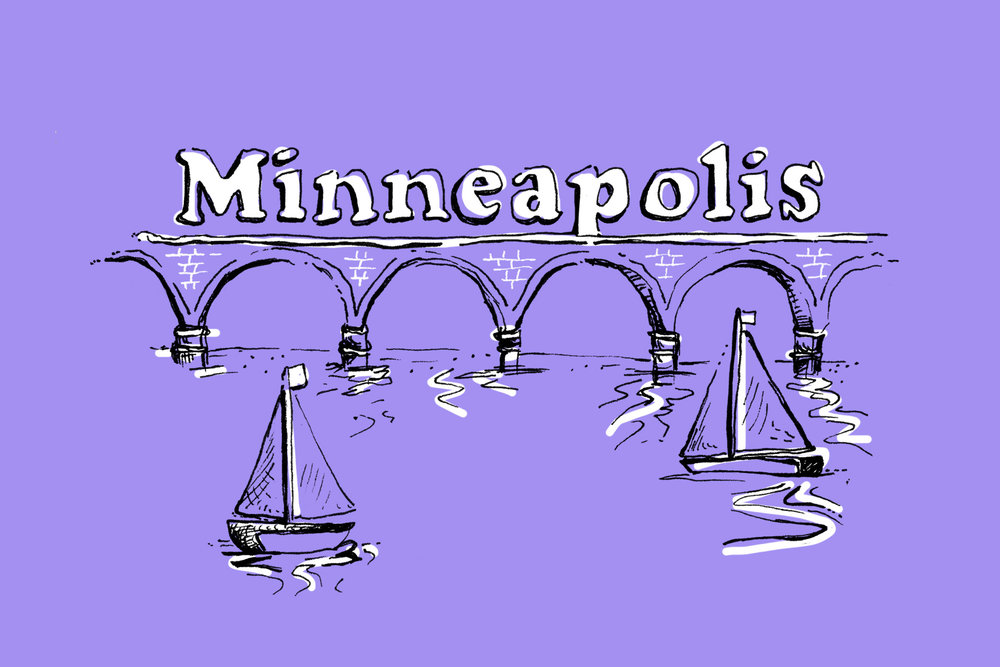 Neenah Paper AIGA Design Conference Minneapolis city map illustration and hand lettering and design