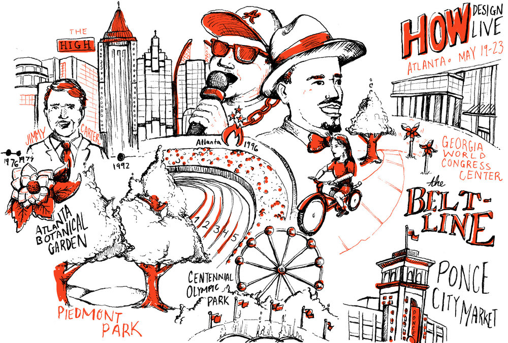 A piece of the Neenah Atlanta illustrated timeline, drawn by Russell Shaw, with two color black and red art. Shows Jimmy Carter, the High Museum, the Atlanta Botanical Garden, Piedmont Park, the Centennial Olympics, Outkast, the Beltline, Ponce City Market and How Design Live.