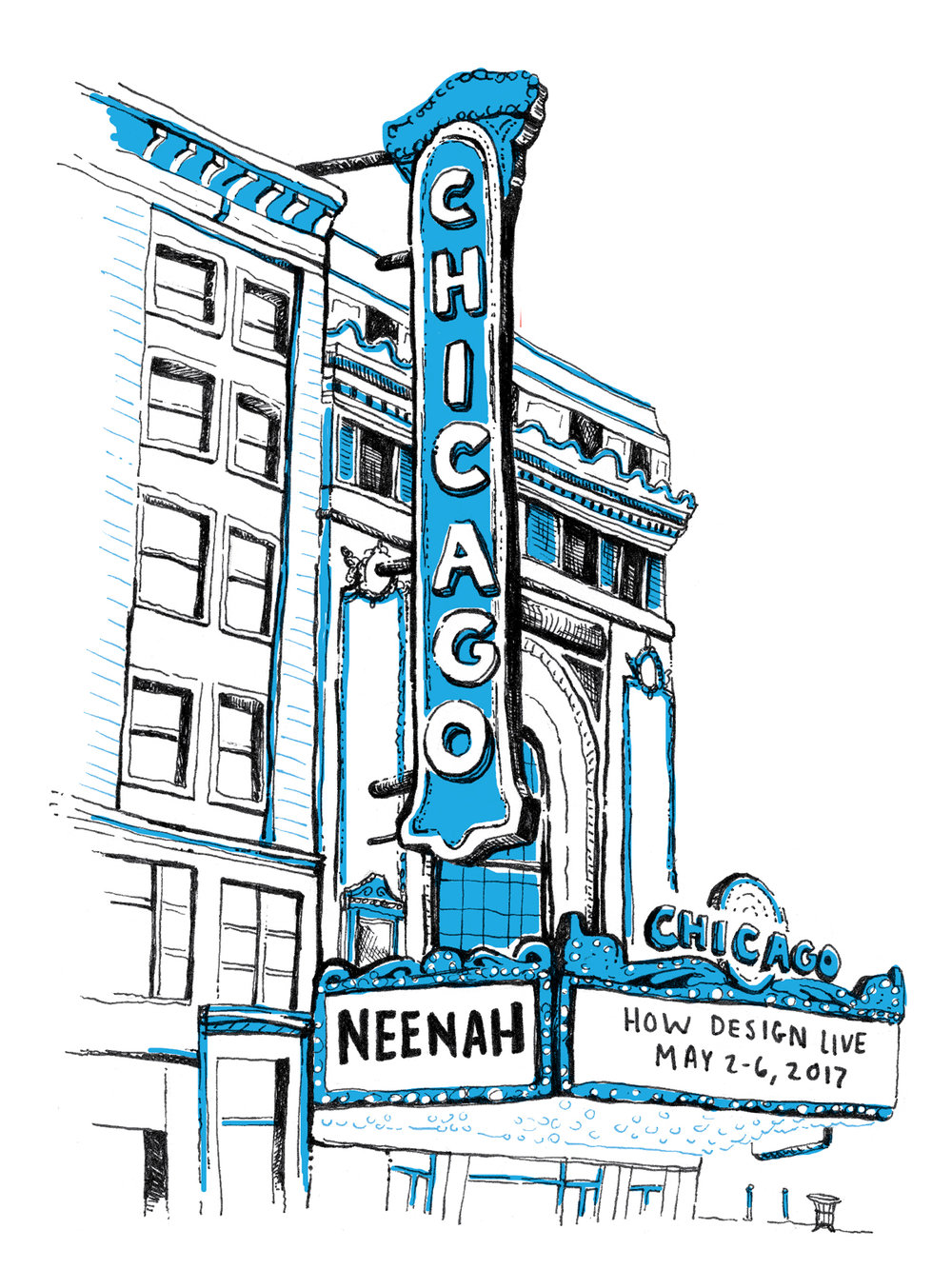 Cover illustration of Chicago Theater, hand drawn by freelance graphic designer Russell Shaw for Neenah Paper at the HOW Design Live 2017 conference