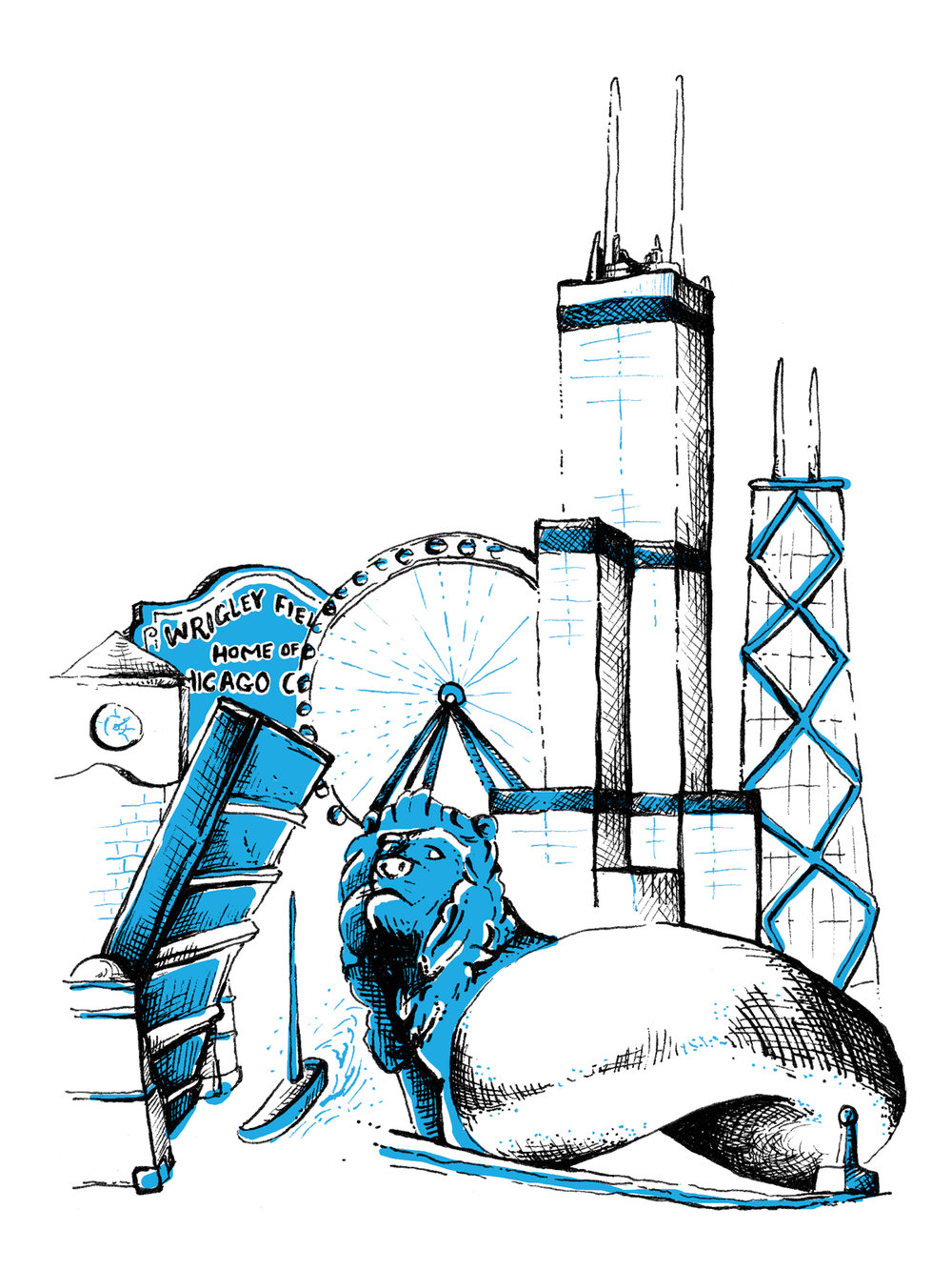 Hand drawn illustration of Chicago skyline skyscrapers, the millenium bean, the lion statue, wrigley field and bridges.