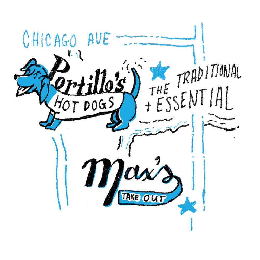 illustration of portillo's chicago style hot dog and max's take out