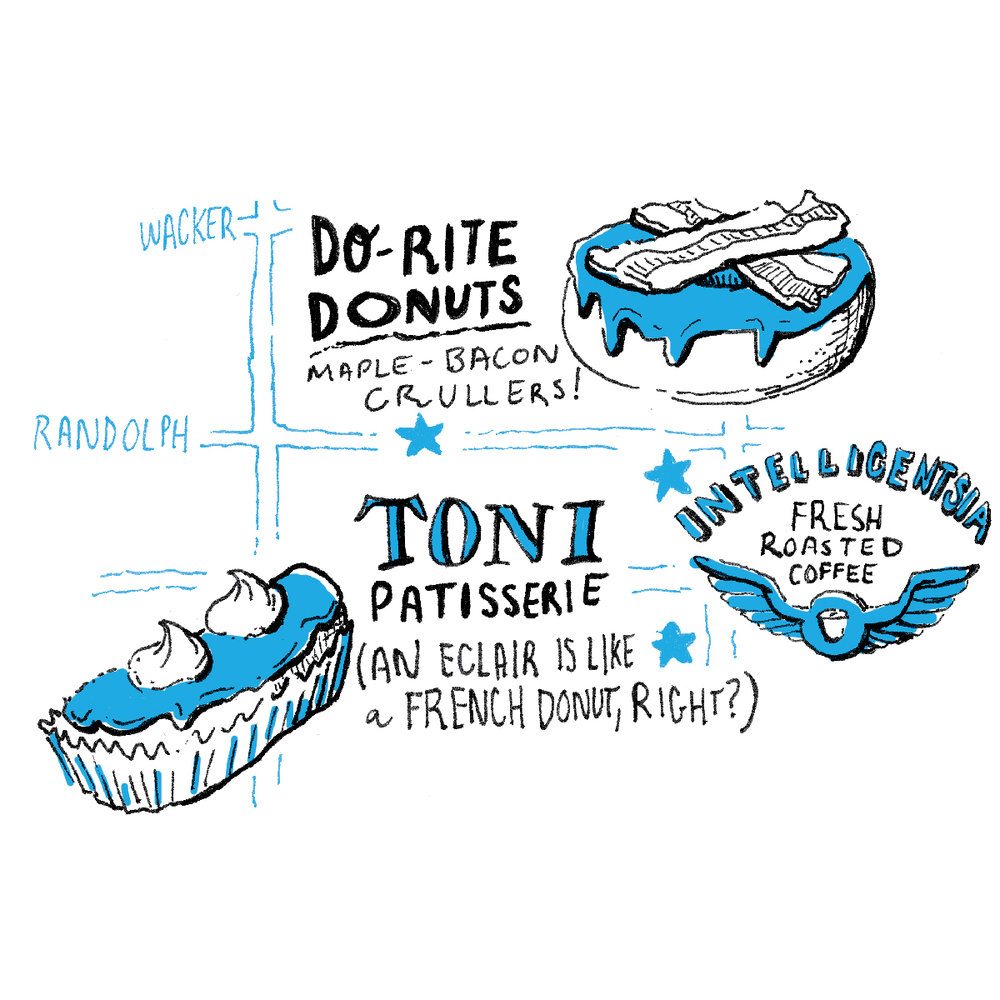 chicago donuts and coffee shops illustration feature do-rite donuts maple bacon, toni patisserie eclair and intelligentsia coffee