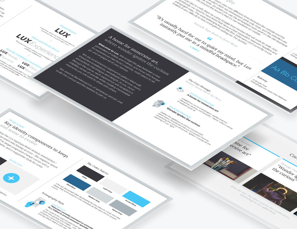 Narrative framework and brand identity core messaging and brand architecture document created for Lux.