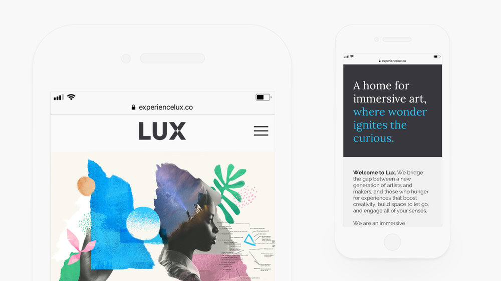 Website design and illustrations for Lux shown on responsive mobile device.