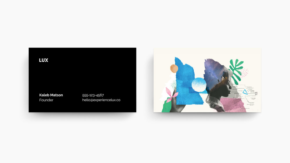 Front and back business card design as part of the visual branding identity created for Lux shows a black and white front of card and on the back is one of the collage illustrations and double exposure photography key art compositions.