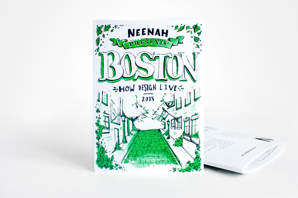 Illustrator and designer Russell Shaw created the art and design for Neenah Presents Boston, a promotional map and guide to the history and culture of the city of Boston, distributed to conference attendees at the HOW Design Live event in 2018. The cover design features a hand drawn, pen and ink, rough line drawing image of Acorn Street with one spot color of green.