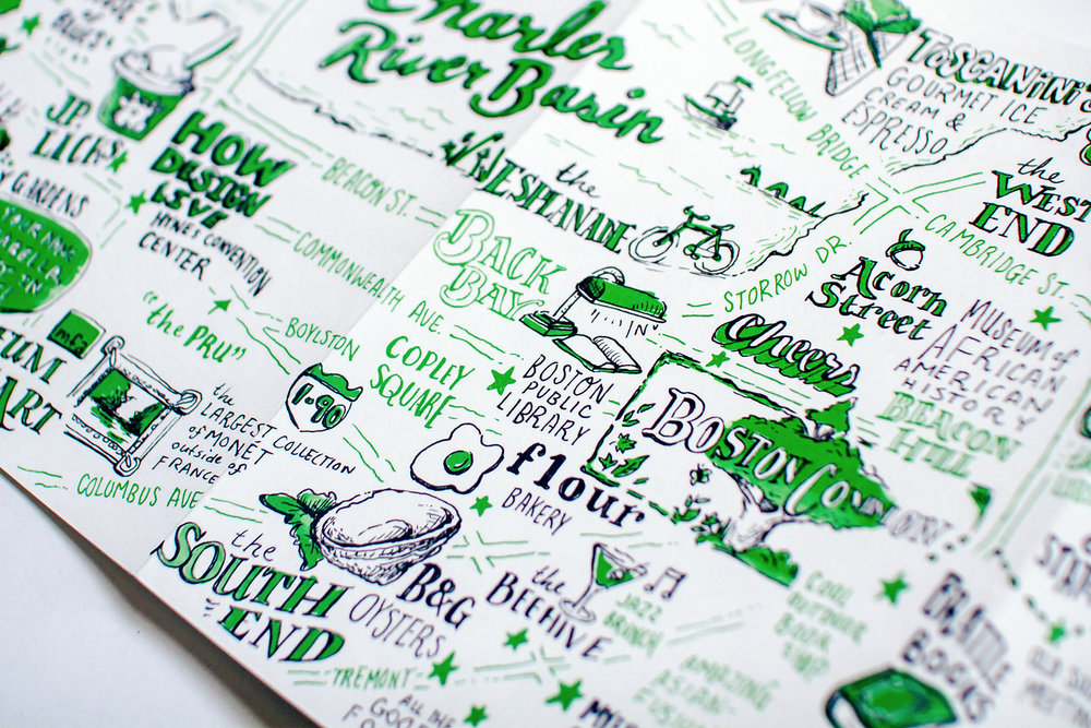 Detailed, hand-drawn, pen and ink illustrated map of Boston shows a focus on Back Bay, Copley Square, the Boston Public Library, Boston Common, Flour Bakery, Cheers Bar, Acorn Street and the food of the South End, by freelance artist Russell Shaw.