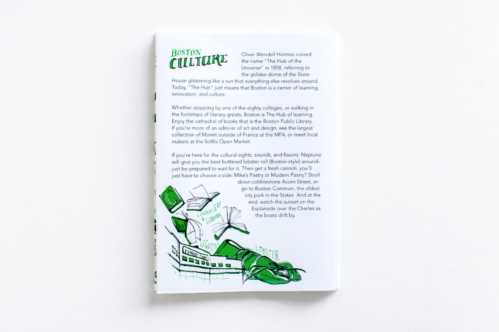 Boston Cutlure panel, created by Russell Shaw, features cultural fun facts about the city and hand drawn pen and ink illustrations of books literature and college learning, fenway park, and lobsters.