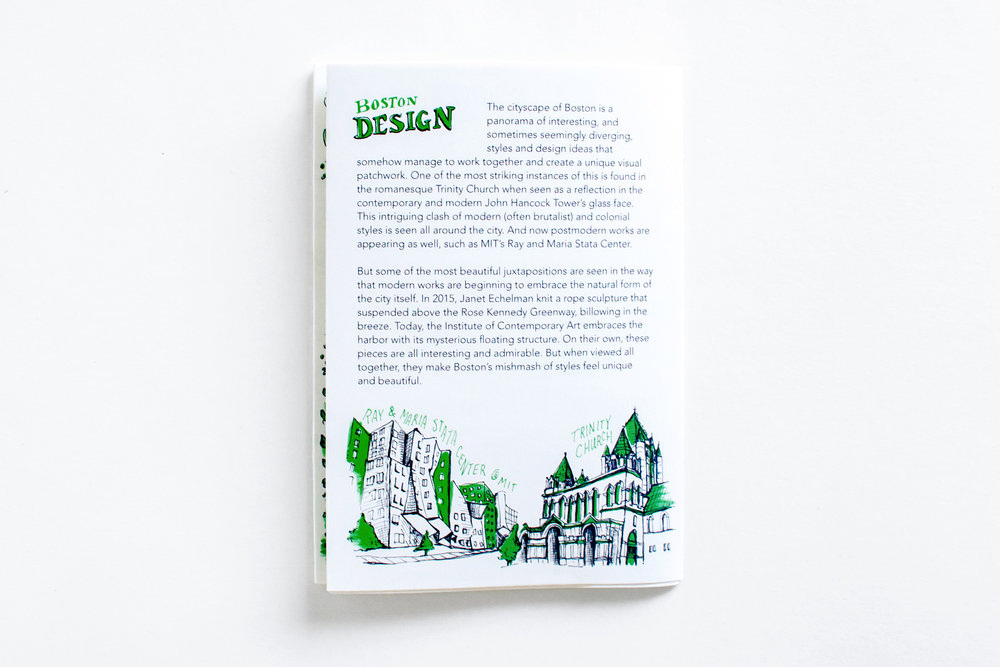 The Boston Design panel has information on the art and architecture of the city, created by Russell Shaw, with hand drawn illustrations of Trinity Church and the Ray and Maria Stata Center at MIT.