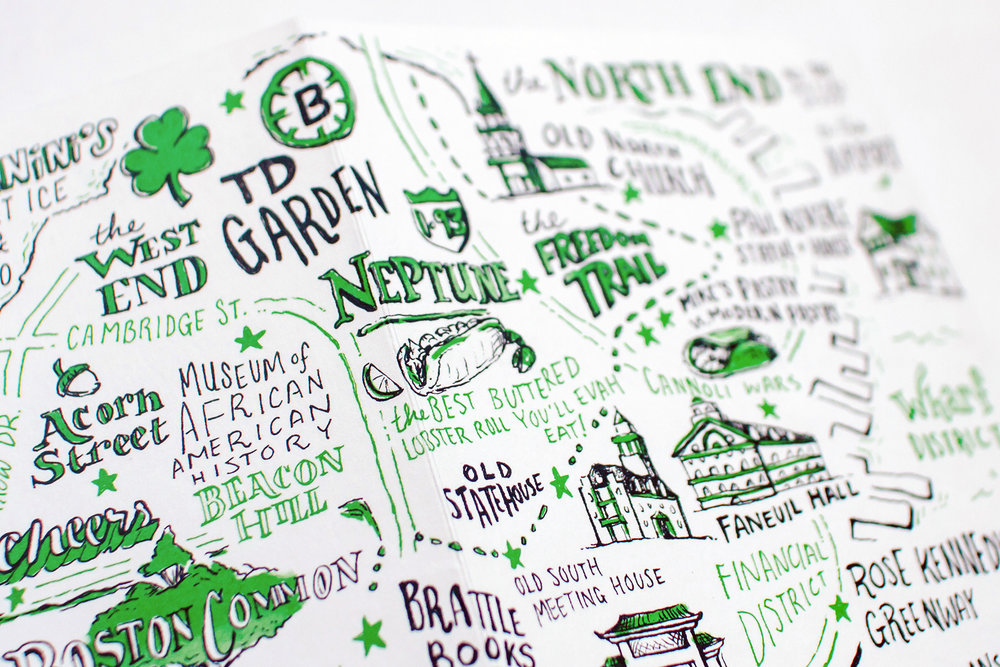 Neptune in Boston has the best buttered lobster roll you'll ever eat, shown on this illustrated city guide to the North End of Boston.