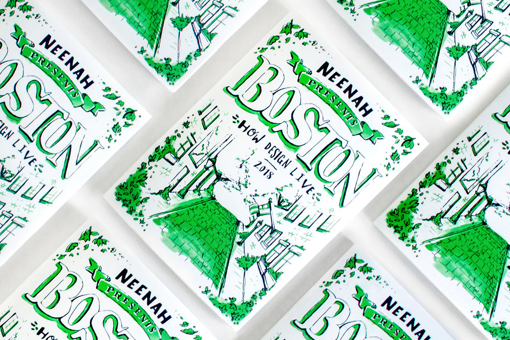 Neenah Paper hand drawn and hand illustrated maps of Boston with black pen and ink drawings and green spot pantone, printed as promotional materials for the HOW Design Live conference in 2018.