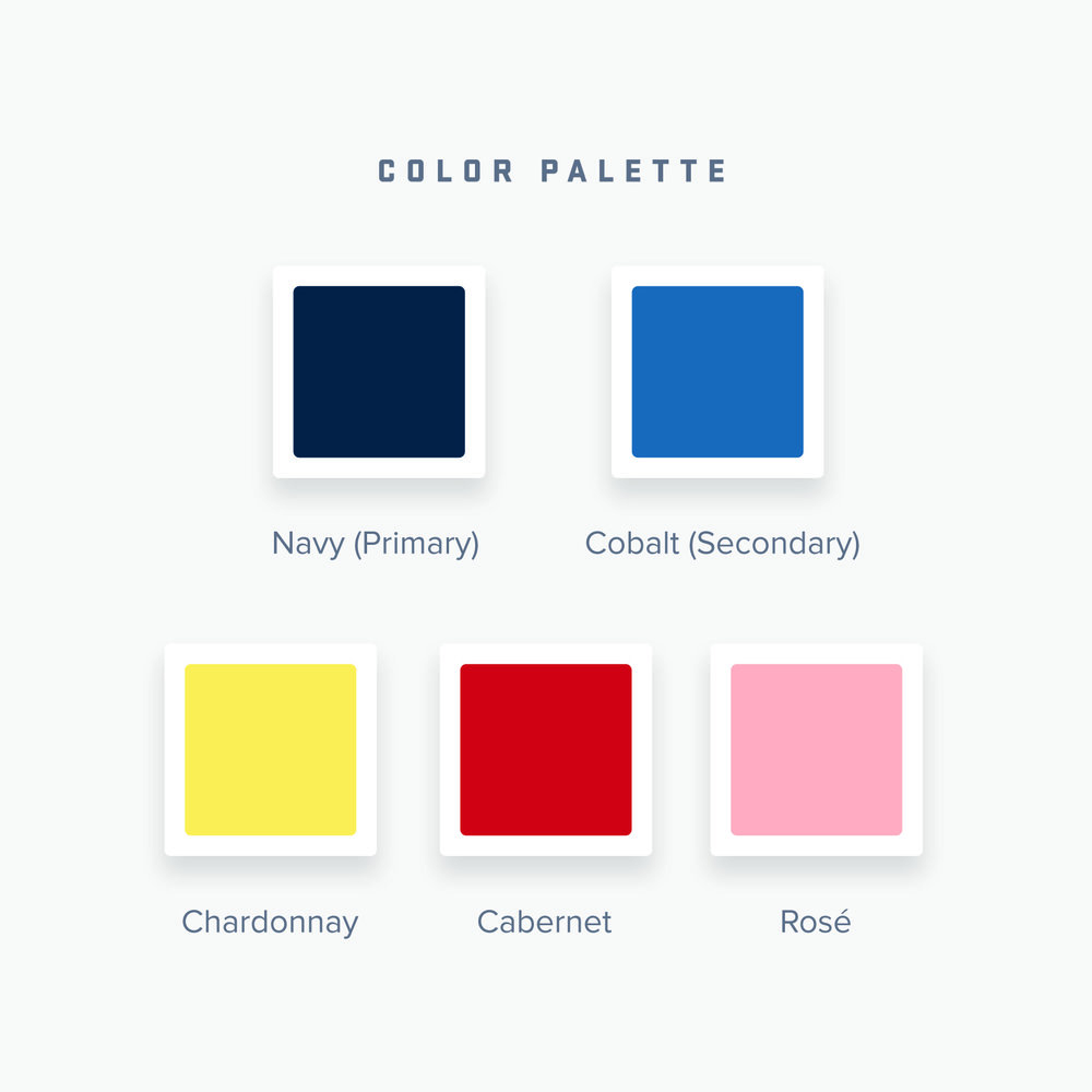 Navy and cobalt blue are the primary and secondary colors of the brand color palette, with a yellow, red, and pink for the chardonnay, cabernet, and rose labels of the Good Measure Wines family of wines.