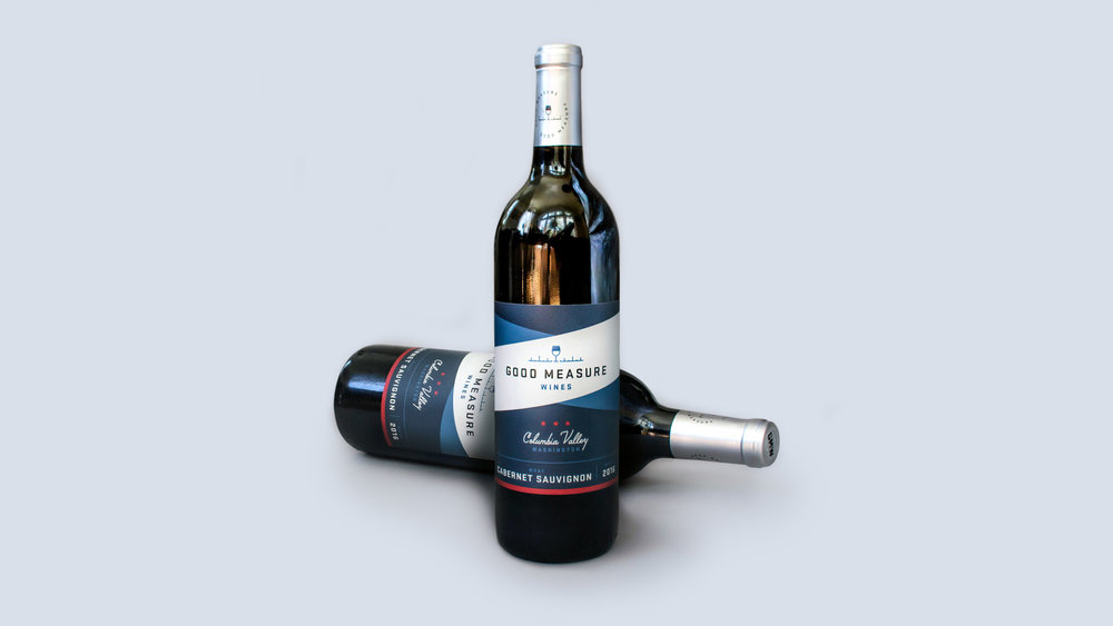 Good Measure Wines cabernet sauvignon bottle features the label design and packaging design that visual artist and freelance designer Russell Shaw created for the Crafted Brands team.