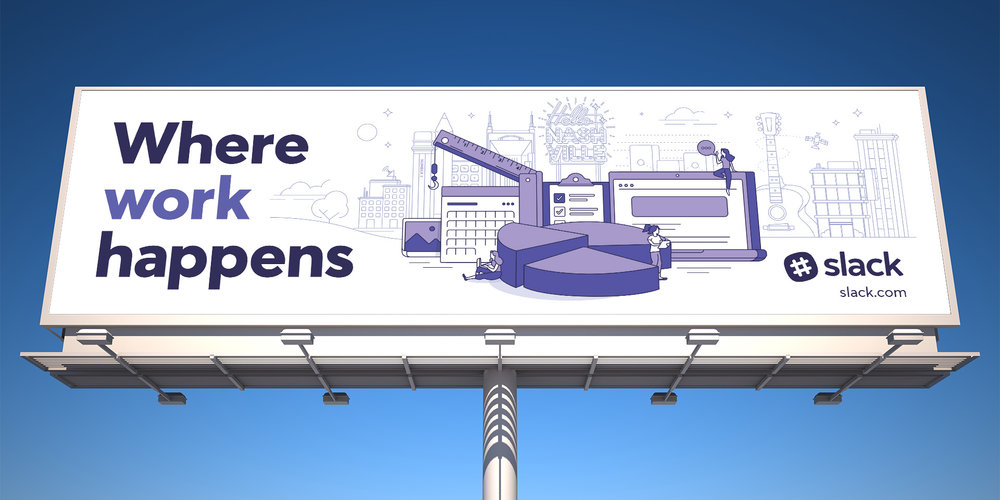 Slack Where work happens nashville billboard design with custom illustrations specific to the city.