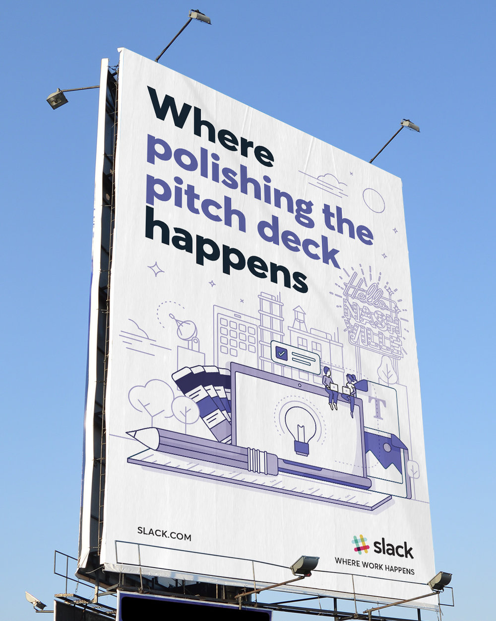 A nashville billboard for Slack featuring artwork specific to the city as well as specific to the creative industry with the message where polishing the pitch deck happens.
