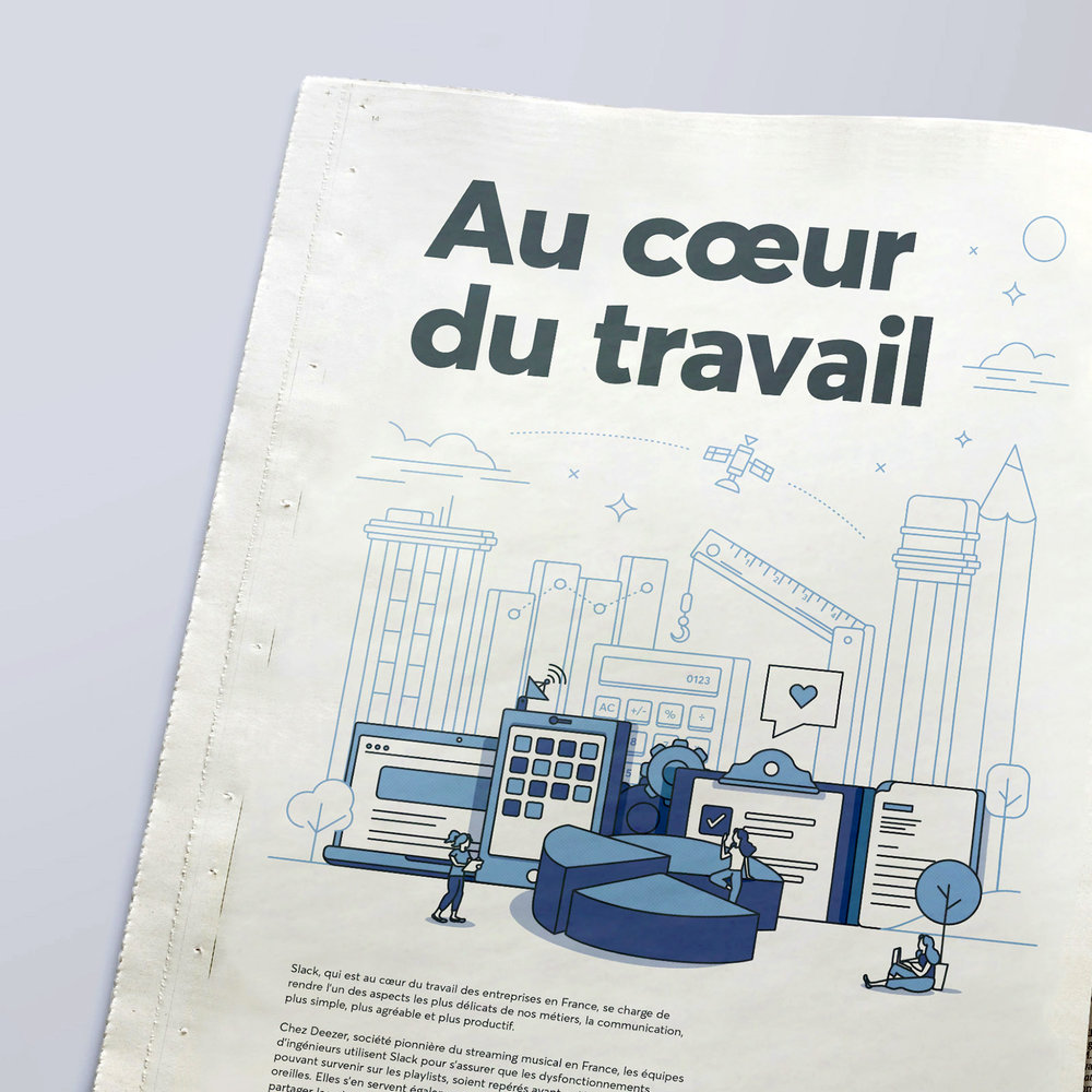 french newspaper slack advertisement