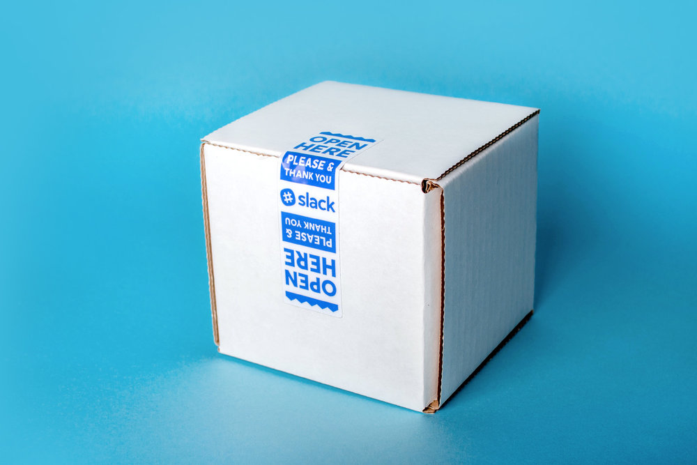 slack mug in a box with custom tape