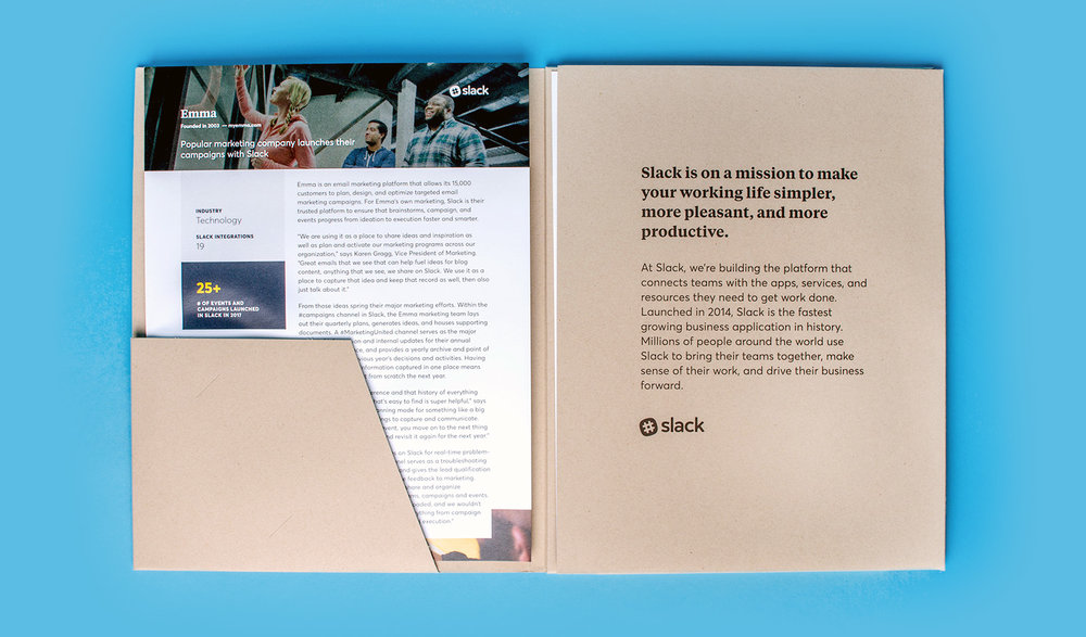 Custom designed and branded kraft paper folder for Slack holds case studies from customer companies.