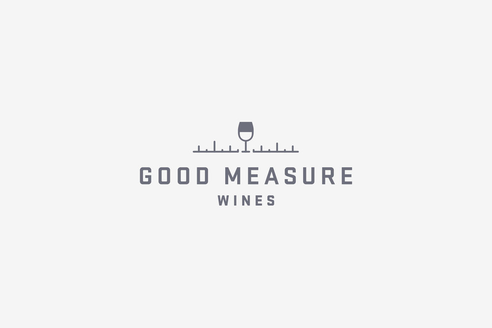 The Good Measure wine logo design and the brand identity created by freelancer graphic designer Russell Shaw for Crafted Brands new line of wines.