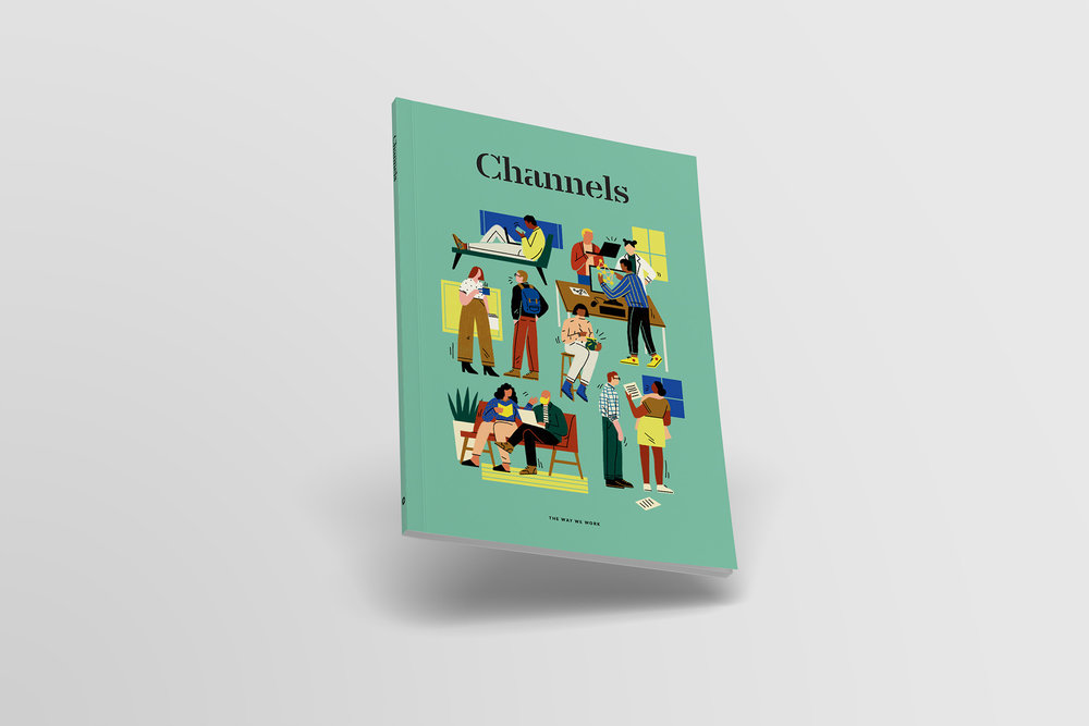 "Cover design of Channels magazine by Slack, ""The Way We Work"" cover illustration by Abbey Lossing."