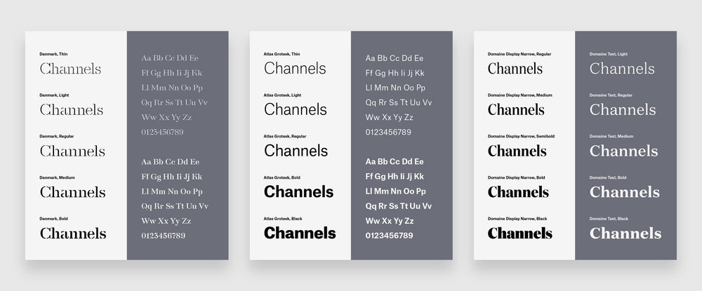 Channels magazine by Slack used a font selection and typography stack of Danmark, Atlas Grotesk and Atlas Typewriter, and Domaine Display Narrow and Domaine Text for the logotype, sans-serif and serif typefaces.