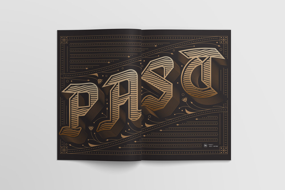 """Past"" lettering by Viet Huynh for Channels magazine features detailed blackletter custom typography on a full-spread of the book"