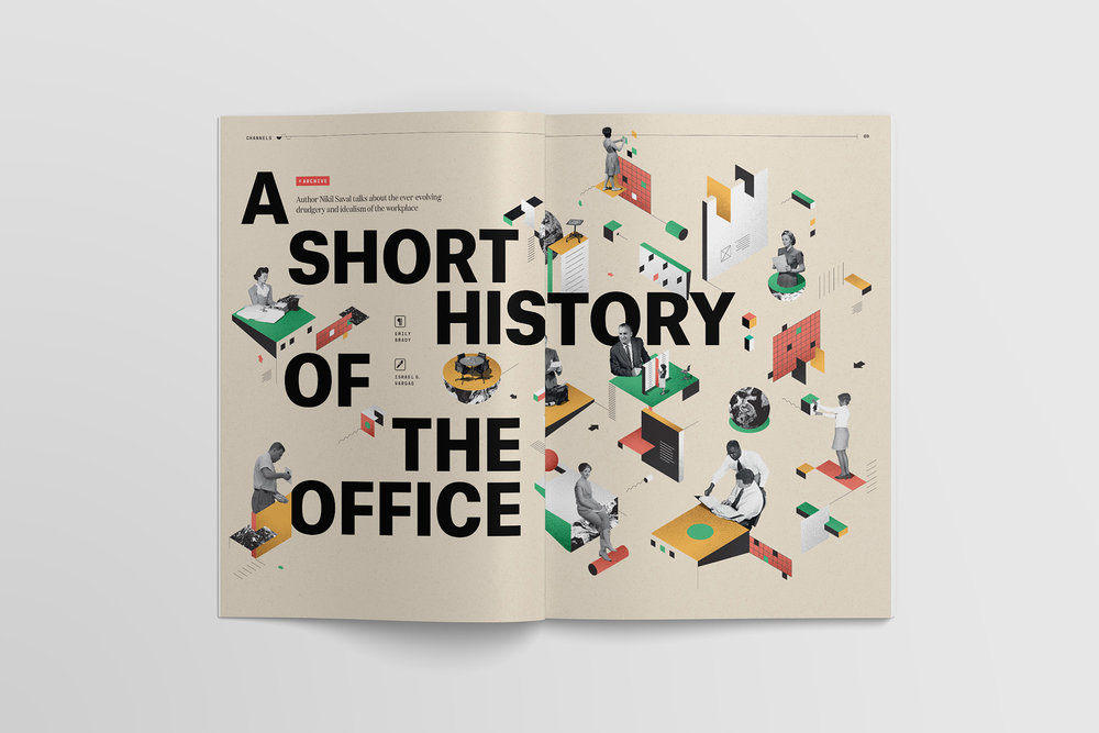 """A Short History of the Office"" full spread illustration and lettering by Israel Vargas for Slack's Channels magazine"