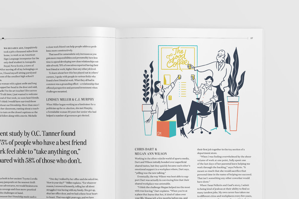 Spot illustration in the magazine layout design for Slack Channels article about best friends at work, illustration by Simone Massoni