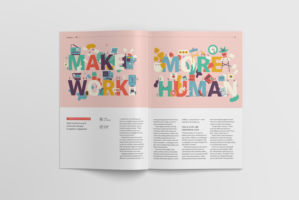 Make Work More Human illustrations and article titling by Skinny Ships for Slack's Channels magazine