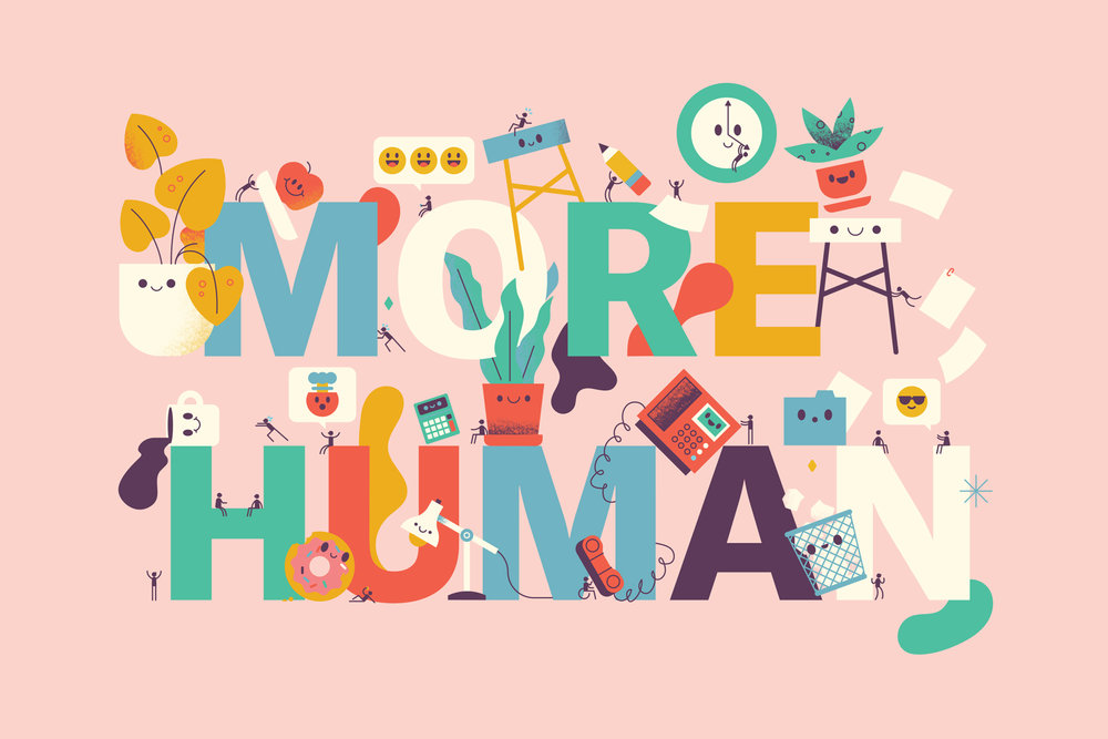 "Detail of ""make work more human"" lettering and illustration by Skinny Ships for Channels Magazine by Slack"