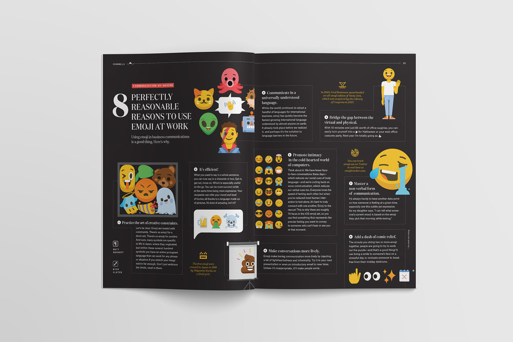 Spread of reasons to use emoji at work in Slack's Channels magazine, with illustrations by Nick Slater