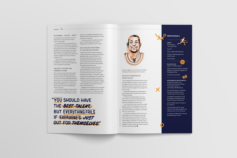 "Portrait illustration of Andre Iguodala ""Iggy"" by Jonny Ruzzo for Slack's Channels magazine and pull quote custom lettering design by Jen Mussari"