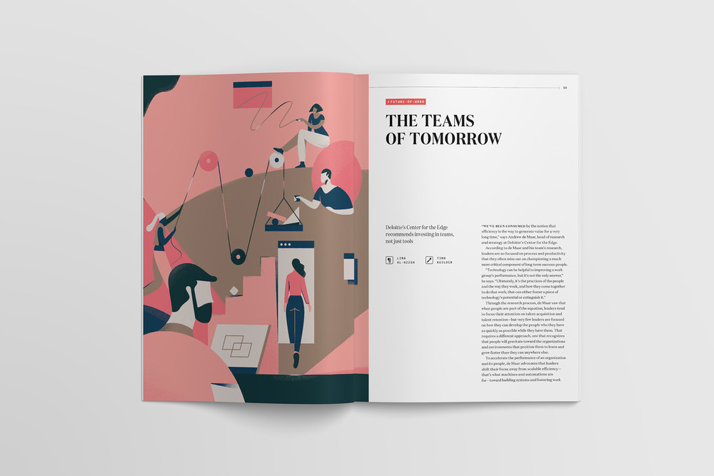 Slack Channels magazine layout design for article The Teams of Tomorrow features a custom illustration commission from Timo Kuilder of people working together and a pulley system