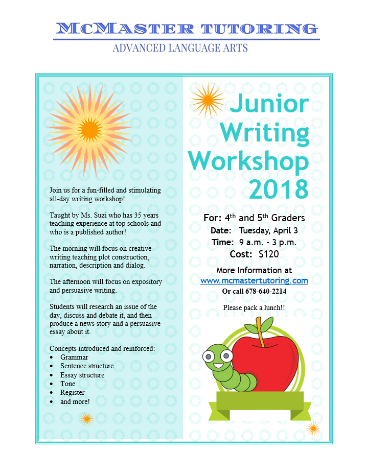 2018 SB Junior Writing Camp — McMaster Tutoring