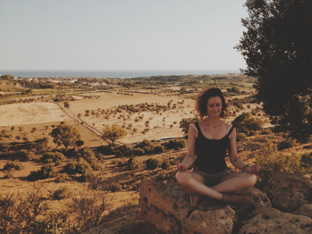 When I meditate I always sit on cliffs and have people take pictures of me.