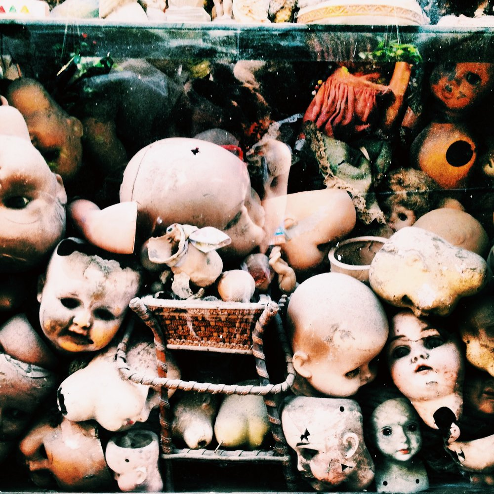 This has nothing to do with this post except I took the picture when I was a snotty-crying-broken mess in Rome and the doll-faces remind me of what I felt like on the inside.