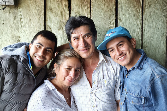 "Maria Bercelia Martinez and her family at their farm, ""Los Angeles"""