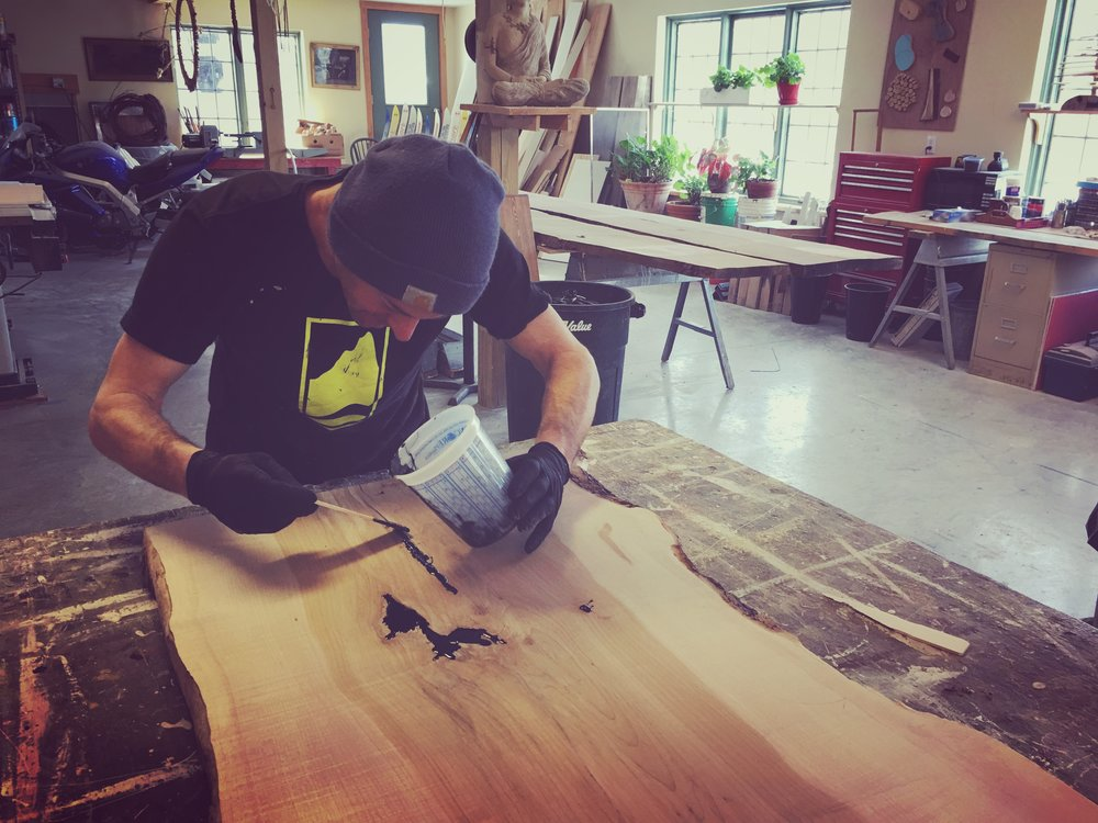 Mike detaling live edge bench. Vermont pro Construction.JPG