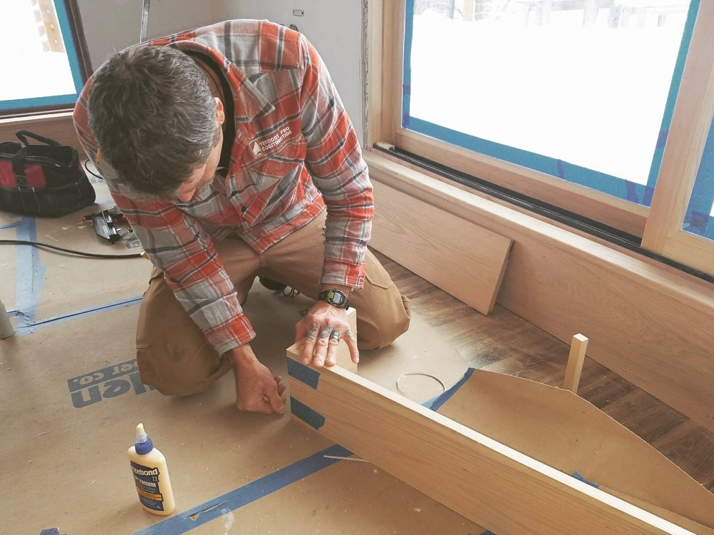 Ed installing trim. Vermont Pro Construction.JPG