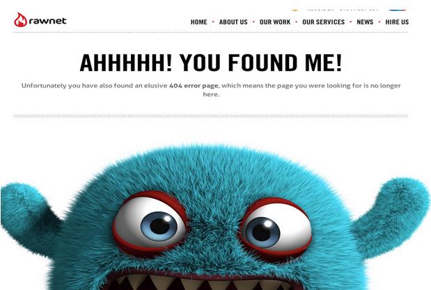 Disorienting or delightful? | Rawnet's 404 error page via    zurb.com
