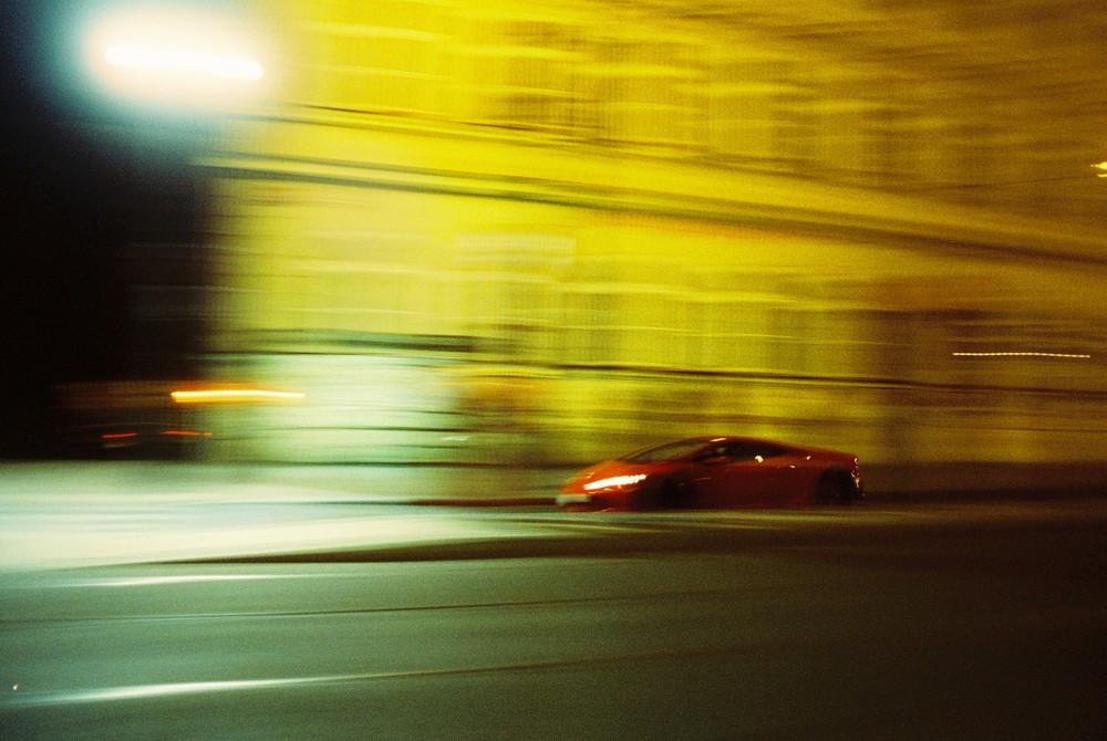 Prague, by night. Lamborghini
