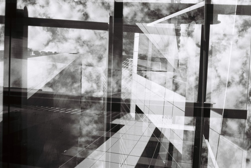 Buildings, sky, glass and window / frames