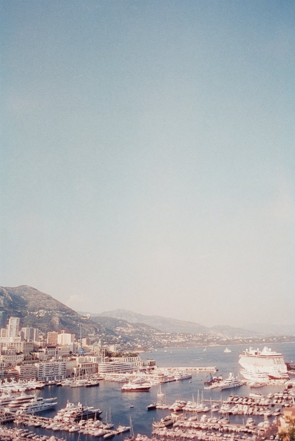 Cinestill 800T shot at 1600 (+2) daytime in Monaco, French Riviera. - Due to it's tungsten white balance, without filtration it gives daylight a blue/ purple tint. This can be corrected with filtration (85B - warm)