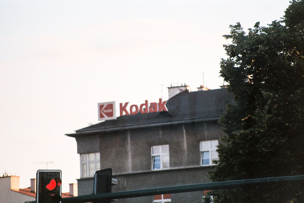 Kodak, a good sign. Tour Bus ride into town. It was a good welcome to Poland.
