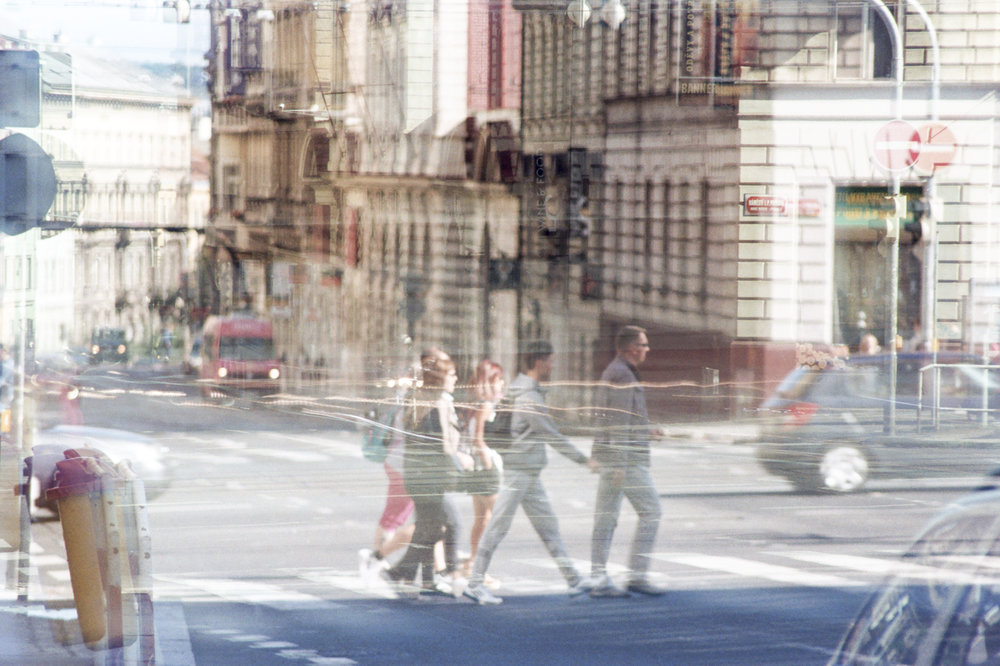 Street shooting in Prague. Multiple exposure at different times. ND+ Filter.