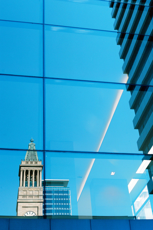 King George Square, Brisbane.  Utilising an adjacent building, reflection of the clock tower.