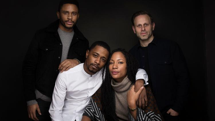 "Actor Nnamdi Asomugha, from left, Lakeith Stanfield, Natalie Paul and writer/director Matt Ruskin from the film, ""Crown Heights"", at the Sundance Film Festival on Jan. 23, 2017, in Park City, Utah. (Taylor Jewell / Invision/AP)"