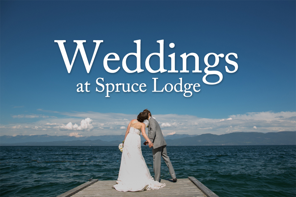 A wedding couple on the Spruce Lodge dock, Flathead Lake, Montana.